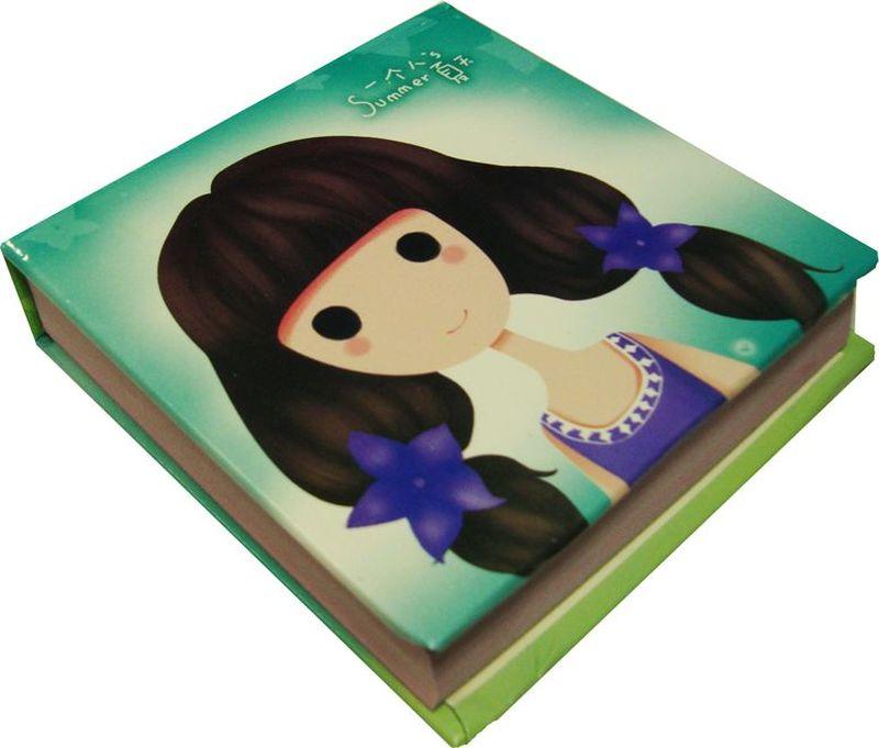 Zhelang Блокнот Девочка 95 листов цвет зеленый8361СБлокнотик с нелинованными листами с цветными картинками