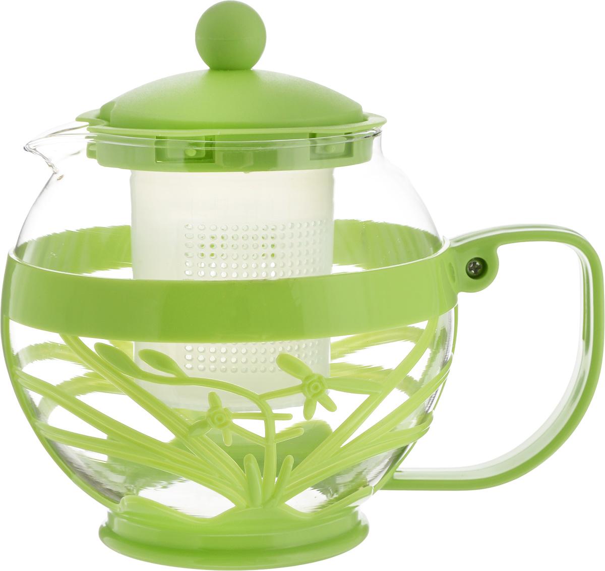 Чайник заварочный Wellberg Aqual, с фильтром, цвет: прозрачный, зеленый, 800 млCM000001328Заварочный чайник Wellberg Aqual изготовлен извысококачественного пластика и жаропрочногостекла. Чайник имеет пластиковый фильтр и оснащенудобной ручкой. Он прекрасно подойдет для завариваниячая и травяных напитков.Такой заварочный чайник займет достойное место навашей кухне. Высота чайника (без учета крышки): 11,5 см. Высота чайника (с учетом крышки): 14 см.Диаметр (по верхнему краю): 7 см.