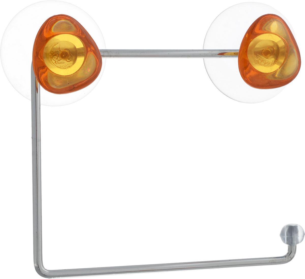 Держатель для туалетной бумаги Axentia Amica, на присосках, цвет: оранжевый, стальной68/5/3Держатель для туалетной бумаги Axentia Amica изготовлениз высококачественной стали с хромированным покрытием,которое устойчиво к влажности и перепадам температуры. Держатель поможет оформить интерьер в выбранном стиле.Он хорошо впишется в любой интерьер,придавая ему черты современности.Для большего удобства изделие крепится спомощью двух присосок из поливинилхлорида (входят вкомплект), что дает возможность при необходимости менятьих месторасположение.Размер держателя: 15 х 12,5 х 4 см.Диаметр присоски: 5,5 см.
