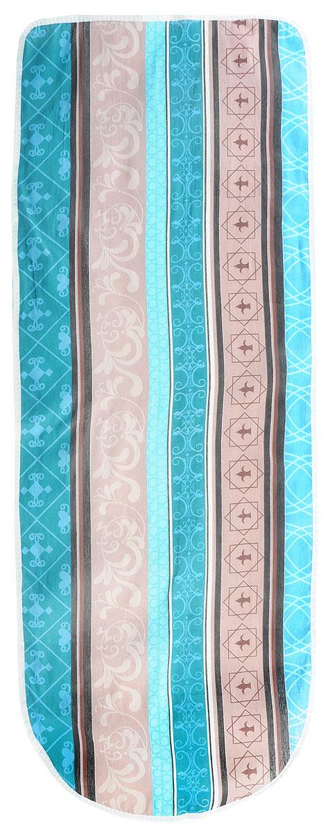 Чехол для гладильной доски Eva, цвет: коричневый, бирюзовый, голубой, 129 х 45 смIR-F1-WЧехол для гладильной доски Eva, цвет: коричневый, бирюзовый, голубой, 129 х 45 см