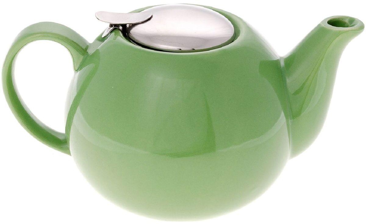 Чайник заварочный Elff Decor, с ситечком, цвет: зеленый, 1,25 лVT-1520(SR)Чайник заварочный Изготовлен из цветной керамики с крышкой и ситечком из нержавеющей стали Объем-1,25 л