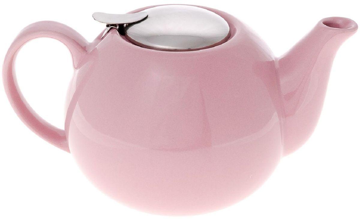 Чайник заварочный Elff Decor, с ситечком, цвет: розовый, 1,25 л94672Чайник заварочный Изготовлен из цветной керамики с крышкой и ситечком из нержавеющей стали Объем-1,25 л