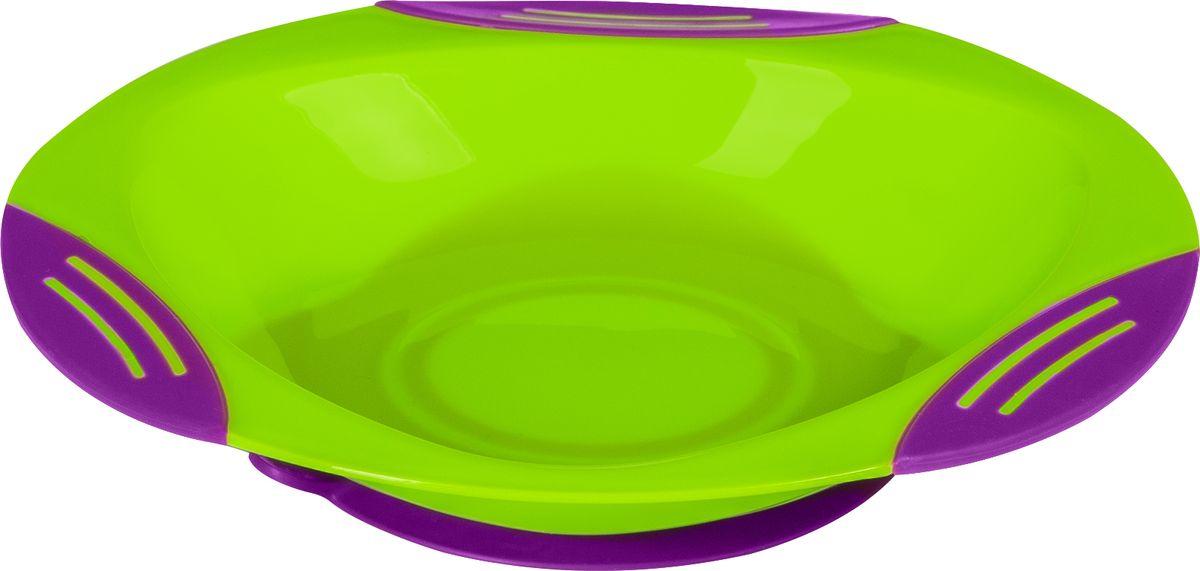 BabyOno Тарелка на присоске цвет салатовый фиолетовый115510Детская тарелочка BabyOno с удобной присоской идеально подойдет для кормления малыша и обучения егосамостоятельному приему пищи. Тарелочка выполнена из безопасного прозрачного полипропилена, не содержащего Бисфенол А. Специальнаярезиновая присоска фиксирует тарелку на столе, благодаря чему она не упадет, еда не прольется, а ваш малыш будетдоволен. Широкие бортики тарелочки не позволят еде просыпаться или пролиться.
