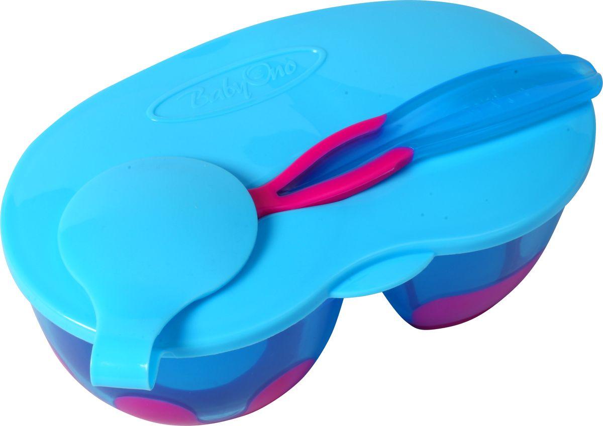 BabyOno Тарелка двухсекционная с ложечкой цвет голубой фуксияПЦ1905ПСЛТарелочка с двумя отделениями BabyOno будет незаменима в поездке и на прогулке, она позволит упроститьпроцесс кормления малыша. Тарелочка имеет две секции с перегородками, позволяющие разделить пищу. Сверху тарелка закрывается плотнойэластичной крышкой, исключающей проливание продуктов. Тарелка изготовлена из безопасных материалов,предназначенных для контакта с пищей и не содержит бисфенола А.Дно тарелки дополнено нескользящими вставками, благодаря чему она не упадет, еда не прольется, а ваш малышбудет доволен. В комплект входит небольшая ложечка, практично фиксирующаяся на крышке тарелки.