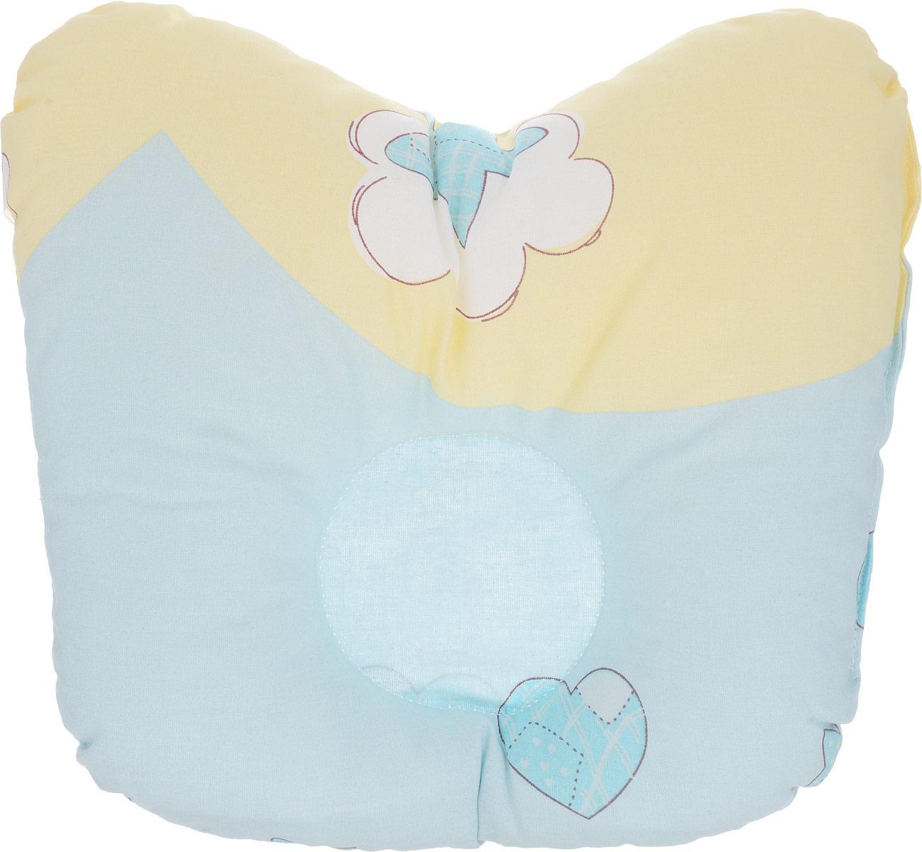 Сонный гномик Подушка анатомическая для младенцев Мишка цвет голубой желтый 27 х 20 см10503Анатомическая подушка для младенцев Сонный гномик Мишка изготовлена из бязи - 100% хлопка. Наполнитель - синтепон в гранулах (100% полиэстер).Подушка компактна и удобна для пеленания малыша и кормления на руках, она также незаменима для сна ребенка в кроватке и комфортна для использования в коляске на прогулке. Углубление в подушке фиксирует правильное положение головы ребенка.Подушка помогает правильному формированию шейного отдела позвоночника и обеспечивает младенцу крепкий и здоровый сон.