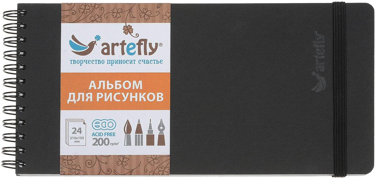 Artefly Альбом для рисования 24 листа цвет черный72523WDАльбом Artefly идеально подходит для рисования в нем карандашом, маркерами, тушью, красками на водной основе. Внутренний блок включает 24 листа. Удобная эластичная застежка защитит вашу записную книжку. Переплет на спирали делает альбом еще более удобным и позволяет с легкостью переворачивать страницы.