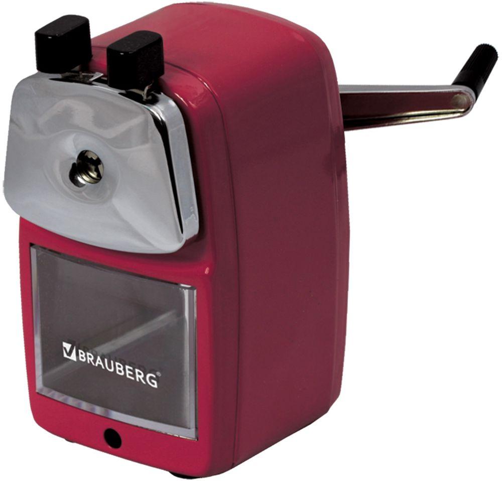 Brauberg Точилка Red PowerFS-54103Настольная механическая точилка для карандашей контейнером для стружки. Полностью металлический корпус и механизм. Роликовый нож обеспечивает высокое качество работы и долговечность точилки.•Роликовый нож. •Прочный металлический корпус. •Размер (ВхШхГ) - 12х7х7 см. •Поставляется в нескольких вариантах цвета (без возможности выбора).