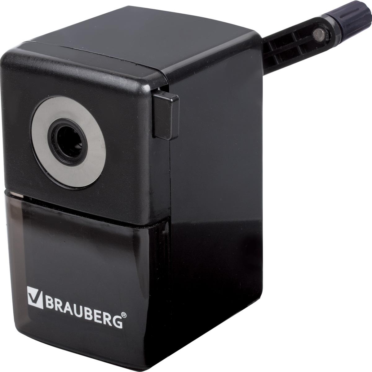 Brauberg Точилка BlackJackFS-54103Качественный металлический механизм обеспечивает лёгкое, равномерное затачивание карандашей и долговечность работы точилки. Специальный зажим для крепления к столу обеспечивает дополнительное удобство в использовании.•Качественный металлический затачивающий механизм. •Пластиковый корпус. •Специальный зажим для крепления к столу. •Вместительный контейнер для сбора стружки. •Цвет корпуса - черный. •Размер - 7х10х10,5 см.