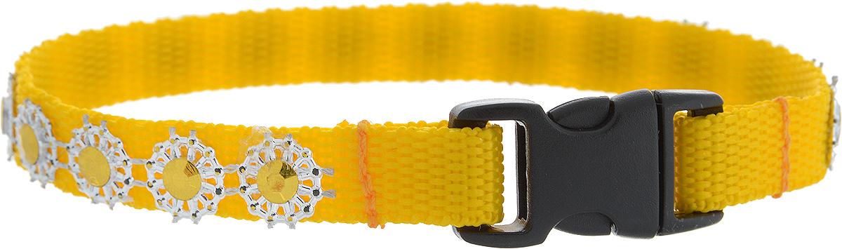 Ошейник для животных GLG Солнечный зайчик, цвет: желтый, размер 1 х 24,5 см0120710Ошейник для животных GLG Солнечный зайчик изготовлен из нейлона и высококачественного пластика. Сверхпрочные нити делают ошейникнадежным и долговечным. Ошейник оформлен декоративнымиэлементами. Длина ошейника: 24,5 см.Ширина ошейника: 1 см.
