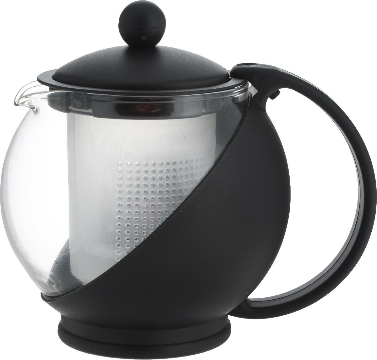 Чайник заварочный Miolla, с фильтром, цвет: черный, прозрачный, 500 мл. DHA020P/ACM000001328Заварочный чайник Miolla изготовлен изжаропрочногостекла и термостойкого пластика. Чай в такомчайнике дольшеостается горячим, а полезные и ароматическиевещества полностью сохраняются в напитке. Чайникоснащенфильтром и крышкой.Простой и удобный чайник поможет вамприготовить крепкий,ароматный чай. Разборная конструкцияобеспечивает легкий уход.Можно мыть в посудомоечной машине. Неиспользовать в микроволновой печи.Диаметр чайника (по верхнему краю): 6,5 см. Высота чайника (без учета крышки): 9,5 см. Высота фильтра: 6,5 см.