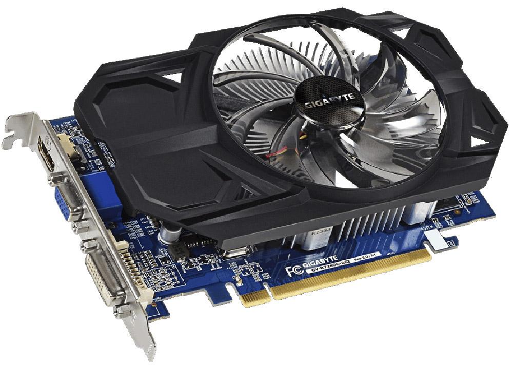 Gigabyte Radeon R7 240 2GB видеокартаVCQP2000-PBВидеокарта Gigabyte PCI-E GV-R724OC-2GI AMD R7 240 2048Mb 128b DDR3 780/1800/HDMIx1/CRTx1/HDCP Ret