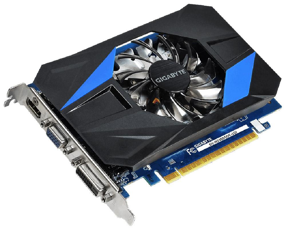 Gigabyte GeForce GT 730 OC 1GB видеокартаVCQM2000-PBВидеокарта Gigabyte PCI-E GV-N730D5OC-1GI NV GT730 1024Mb 64b GDDR5 902/5000 DVIx1/HDMIx1/CRTx1/HDCP