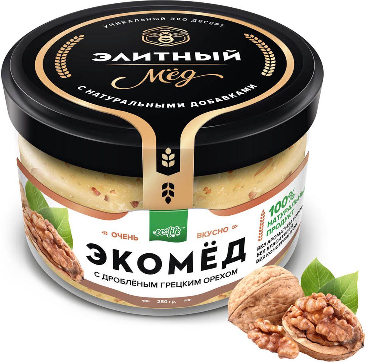 Ecolife Экомед с грецким орехом, 250 г0120710100% натуральный экопродукт, имеющий в составе только натуральные ингредиенты. При изготовлении не используется дешевый подсолнечный мёд. Мед не нагревается, сохраняются все его полезные свойства. Экомёд не имеет эффекта расслаивания.