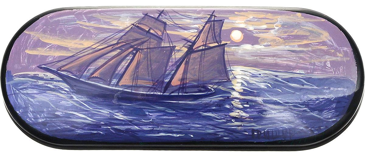 Футляр для очков Феодора Корабль, цвет: синий. Ручная роспись. T-8V-KMBM8434-58AEТвердый каркасный футляр для очков, выполнен из металлопластика, внутренняя часть оформлена текстильным материалом, расписан вручную.