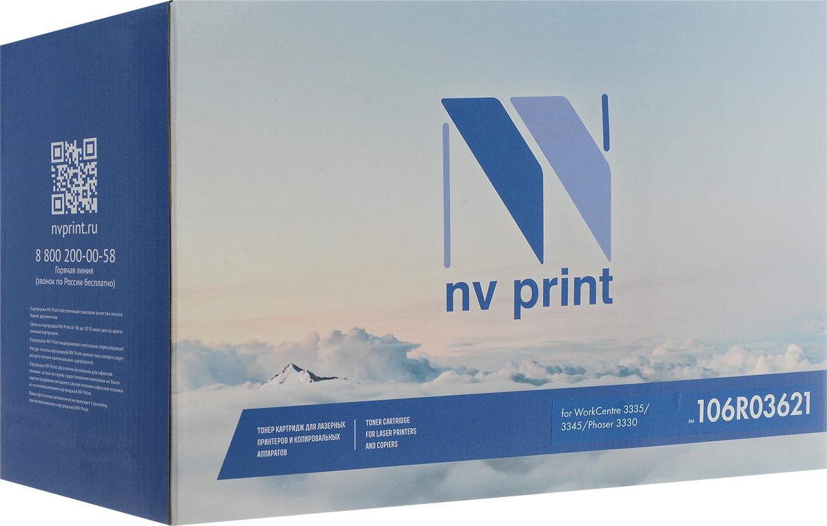NV Print NV-106R03621, Black тонер-картридж для Xerox WorkCentre 3335/3345/Phaser 33301977B002Совместимый лазерный картридж NV Print NV-106R03621 для печатающих устройств Xerox - это альтернатива приобретению оригинальных расходных материалов. При этом качество печати остается высоким. Картридж обеспечивает повышенную чёткость чёрного текста и плавность переходов оттенков серого цвета и полутонов,позволяет отображать мельчайшие детали изображения.Лазерные принтеры, копировальные аппараты и МФУ являются более выгодными в печати, чем струйные устройства, так как лазерных картриджей хватает на значительно большее количество отпечатков, чем обычных. Для печати в данном случае используются не чернила, а тонер.