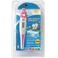 Электронный термометр Maman (кролик)FDТН-V0-3Электронный термометр Maman, украшенный симпатичным кроликом, предназначен для измерения температуры тела тремя способами: орально, ректально и в подмышечной впадине. Простое в использовании и надежное устройство окажется вам полезным и необходимым для ухода за маленьким ребенком. Электронный термометр абсолютно безопасен, так как не содержит ртути и не бьется. Термометр особенно удобен для измерения температуры у маленьких детей, так как благодаря гибкому наконечнику, не травмирует зубки при оральном применении, а боковые противоскользящие вставки в корпусе не позволят термометру выскользнуть из рук. Термометр запоминает последнее измеренное значение температуры тела. Термометр водонепроницаемый и оснащен звуковой сигнализацией окончания измерения и тревожным сигналом при высокой температуре. Для удобства хранения термометр упакован в пластиковый чехол.