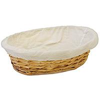 Корзинка для хлеба Dine овальная, 34 х 27 смVT-1520(SR)Овальная корзинка для хлеба Dine изготовлена из лозы. Она не требует особенного ухода: нужно всего-навсего регулярно смахивать пыль мягкой щеткой и раз в год предотвращать появление трещин, путем смачивания плетения водой с помощью губки. Для того, чтобы крошки не просыпались, к корзинке прикреплена хлопчатобумажная ткань на резинке. Корзинка очень практична и легка.В холодный зимний день приятная цветовая гамма корзинки в сочетании с оригинальным дизайном навевают воспоминания о лете, тем самым способствуя улучшению настроения и полноценному отдыху. Характеристики: Материал: лоза, хлопок. Размеры корзинки: 34 см х 27 см. Высота корзинки: 8 см. Производитель: Великобритания. Артикул: 1900418.
