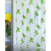 Штора Frogtime, 180 х 200 см1006487Штора для ванной комнаты Frogtime с изображением забавных лягушек изготовлена из полиэтиленвинилацетата. В верхней кромке шторы сделаны отверстия для колец. Штору можно стирать только руками. Шторы от компании Spirella отличает яркий, красочный дизайн рисунков и высокое качество (гарантия на изделие 3 года). Сделайте вашу ванную комнату еще красивее! Характеристики: Материал: пластик. Размер шторы: 180 см х 200 см. Производитель: Швейцария. Артикул: 1006487.