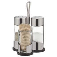 Набор Tescoma: солонка, перечница, подставка под зубочистки. 650322650322Набор Tescoma, состоящий из солонки, перечницы и подставки под зубочиски, изготовлен из первоклассной нержавеющей стали и стекла. Солонка и перечница легки в использовании, с ними вы с легкостью сможете поперчить или добавить соль по вкусу в любое блюдо. Интересный дизайн, эстетичность и функциональность набора позволят ему стать достойным дополнением к кухонному инвентарю. Характеристики: Материал: стекло, нержавеющая сталь. Диаметр емкости для специй: 3 см. Высота емкости для специй: 8,5 см. Диаметр подставки под зубочистки: 3,5 см. Высота подставки под зубочистки: 5,5 см. Размер подставки: 8,5 см х 6,5 см х 12 см. Производитель: Чехия. Артикул: 650322.
