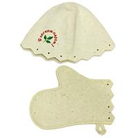 Комплект для бани и сауны Eva, Б15Б15Комплект для сауны и бани Eva состоит из шляпы и варежки. Такой набор станет незаменимым для любителей попариться в русской бани и для тех, кто предпочитает сухой жар финской бани. Необычный дизайн изделий поможет сделать ваш отдых более приятным и разнообразным. Комплект станет отличным подарком для любителей отдыха в бане или сауне. Характеристики: Материал: шерсть. Диаметр основания шляпы: 35 см. Высота шляпы: 23 см. Размер варежки: 28 см х 16 см. Производитель: Россия. Артикул: Б15.