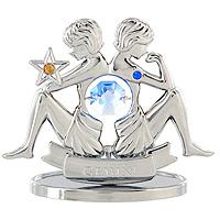 Сувенир Знаки зодиака: Близнецы, цвет: серебристый, 7 смUP210DFДекоративное изделие, выполненное в виде знака зодиака Близнецы, с голубым кристаллом Swarovski посередине, а также двумя кристаллами синего и желтого цветов, изготовлено из высококачественной стали. Оригинальный сувенир будет отличным подарком для ваших друзей и коллег.Более 30 лет компания Crystocraft создает качественные, красивые и изящные сувениры, декорированные различными кристаллами Swarovski.Характеристики:Материал:сталь, кристаллы Swarovski. Высота:7 см. Размер упаковки:9,5 см х 11 см х 4,5 см. Артикул:U0259-001-CBLB. Производитель: Китай.