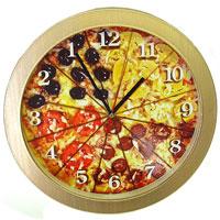 Настенные античасы Пицца91501Настенные кварцевые античасы Пицца своим эксклюзивным дизайном подчеркнут оригинальность интерьера Вашего дома. Циферблат часов оформлен изображением пиццы, разрезанной на 12 кусков. Такие часы украсят вашу комнату и приведут в восхищение друзей. Характеристики: Материал: пластик. Диаметр часов: 27,5 см. Размер упаковки: 28,5 см х 28,5 см х 4,5 см. Производитель: Россия. Артикул: 91501. Питание: 1 батарейка мощностью 1,5V типа АА (не входит в комплект).