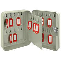 Ящик для 30 ключей Office-Force, цвет: серыйDSPCH01Вашему вниманию предлагается специальный ящик для ключей с никелированным замком, который позволяет точно контролировать наличие всех ключей в Вашей компании. Стальной корпус покрашен методом напыления краски в серый цвет. В задней стенке расположены 2 отверстия для крепления бокса к стене. Оснащен прочными металлическими крючками для удобной систематизации ключей.В комплект входят 2 ключа, 30 бирок, наклейки с номерами, 2 дюбеля с шурупами для крепления к стене. Характеристики:Материал: металл, стекло. Размер ящика: 20 см х 16 см х 8 см. Цвет: серый. Изготовитель: Китай. Артикул: 20082.