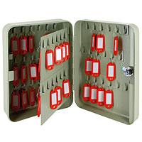 Ящик для 108 ключей Office-Force, цвет: серый20051Вашему вниманию предлагается специальный ящик для ключей с никелированным замком, предназначенный для удобного хранения большого количества ключей. Стальной корпус покрашен методом напыления краски в серый цвет. В задней стенке расположены 2 отверстия для крепления бокса к стене. Оснащен прочными металлическими крючками для удобной систематизации ключей. В комплект входят 2 ключа, 108 бирок, наклейки с номерами, 2 дюбеля с шурупами для крепления к стене.