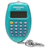 Калькулятор Assistant AC-2319, 8-разрядный, цвет: морской волныFS-00103Удобный и практичный овальный калькулятор-брелок оснащен большим 8-разрядным дисплеем, удобными резиновыми кнопками и ультрафиолетовой лампочкой, которая при необходимости может служить фонариком. Калькулятор питается от батареи. 8-разрядный дисплейВычисление процентов Питание от батареи Большой дисплей Резиновые кнопки Ультрафиолетовая лампа Характеристики: Размер калькулятора: 6,7 x 4,2 x 1,6 см. Размер дисплея: 2,6 см х 1,1 см. Материал: пластик, металл. Цвет: морской волны. Изготовитель: Китай.