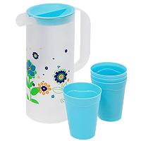 Набор Excellent Houseware, цвет: голубой, 6 предметов170299560Набор Excellent Houseware, состоящий из четырех стаканов и кувшина с крышкой, несомненно, придется вам по душе. Стаканы и кувшин изготовлены из пластика и выполнены в оригинальном дизайне. Кувшин оформлен цветочным рисунком, а стаканы выполнены в голубом цвете. Крышка имеет специальную конструкцию, благодаря которой можно процеживать напитки, например компот с ягодами. С таким набором пить напитки будет еще вкуснее. Набор  Excellent Houseware  станет также отличным подарком на любой праздник. Характеристики: Цвет: голубой. Материал: пластик. Объем стакана: 210 мл. Диаметр стакана по верхнему краю: 7 см. Высота стакана: 9 см. Объем кувшина: 1,5 см. Диаметр кувшина: 9,5 см. Высота кувшина: 23 см. Размер упаковки: 27,5 см х 24 см х 19 см. Производитель: Нидерланды. Изготовитель: Китай. Артикул: 874335.