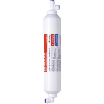 Постфильтр Новая вода, сорбционный. K886BA900Угольный постфильтр с установленными фитингами быстрого подключения для систем обратного осмоса.Используется как фильтр-дезодорант, фильтр финишной очистки воды на последней/предпоследней ступени систем обратного осмоса. Очищает воду от широкого спектра органических и неорганических примесей (свободного хлора, хлорорганических соединений, пестицидов, нефтепродуктов, тяжелых металлов, иных органических и неорганических соединений), устраняет неприятных запах воды, улучшает ее вкус. Характеристики: Состав: активированный уголь из скорлупы кокосового ореха.Рабочая температура воды: +2°C - +35°C. Рекомендуемая скорость фильтрации: до 2 л/мин. Степень очистки (по свободному хлору): до 99%. Ресурс: 4000 л ил 6 месяцев (в зависимости от того, что раньше наступит). Производитель: Россия. Артикул: К886.