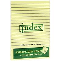 Бумага для заметок Index, с липким слоем, 100 листовI437808Бумагу для заметок в линейку Index, с липким слоем можно наклеивать на любую гладкую поверхность, без опасения оставить след от клея. Яркие цвета, классический дизайн и высокое качество листов выделяют предлагаемую бумагу из ряда себе подобных. Характеристики: Размер листа: 15 см х 10,2 см. Размер упаковки: 15 см х 10,2 см x 1 см.
