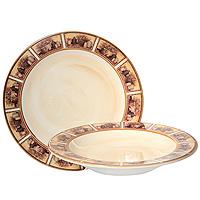 Набор тарелок Натюрморт, 2 штLCS353V-ALНабор керамических тарелок Натюрморт состоит из суповой тарелки и обеденной тарелки. Края тарелки оформлены изображением картин с натюрмортами. Характеристики: Материал: керамика. Диаметр суповой тарелки: 24 см. Высота суповой тарелки: 4 см. Диаметр обеденной тарелки: 25,3 см. Размер упаковки: 27 см х 26,5 см х 8 см. Производитель: Италия. Артикул: LCS353V-AL.