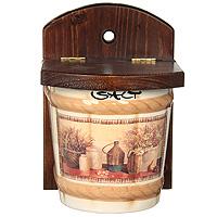 Настенная банка для соли LCS Натюрморт Salt 0,75 л LCS871V-ALLCS871V-ALНастенная банка для соли Натюрморт изготовлена из высококачественной керамики. Рисунок-натюрморт на бежевом фоне выглядит особенно привлекательно. Настенный держатель и крышка выполнены из натурального дерева. Характеристики: Материал: керамика, дерево. Размер банки с держателем: 18,3 см х 12,5 см х 12,5 см. Объем банки: 0,75 л. Размер упаковки: 13,5 см х 13,5 см х 19 см. Изготовитель: Италия. Артикул: LCS871V-AL.