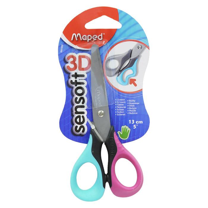 Ножницы Maped Sensoft 3D, 13 см, цвет: розовый, бирюзовый0693008Лезвия ножницы  Sensoft 3D, с безопасными закругленными концами, выполнены из шлифованной нержавеющей стали и отлично режут бумагу, картон, ткань. Улучшенная эргономика колец из мягкого материала обеспечивает максимальный комфорт даже при длительной работе. Характеристики: Длина ножниц: 13 см. Материал: пластик, нержавеющая сталь, резина. Изготовитель: Китай.
