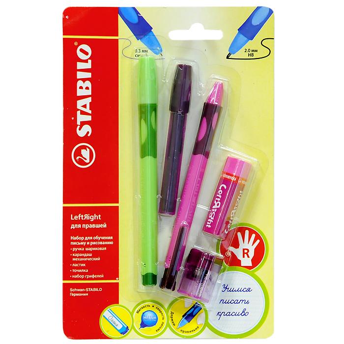 Набор Stabilo Leftright для правшей, цвет: розовый, зеленый, 5 предметов72523WDНабор пишущих принадлежностей STABILO LeftRight д/правшей 5предметов в блистере.(В наборе: шариковая ручка, механический карандаш, грифели для м/карандаша, точилка для грифеля, ластик). Шариковая ручка, механический карандаш, точилка для грифеля имеют маркировку R-для правшей или L-для левшей.Корпусы ручки и механического карандаша трехгранной формы изготовлены из пластика.Зона обхвата трехгранной формы из материала, предотвращающего скольжение пальцев. Ее форма обеспечивает естественное положение пальцев при письме и обеспечивает максимально комфортное письмо для детской руки. Углубления на зоне обхвата показывают ребенку, где располагать пальцы при письме, тем самым обеспечивают правильное положение пальцев ребенка при письме и помогают выработать у ребенка навык правильно держать пишущий инструмент. Длина и вес ручки и карандаша уменьшены, чтобы исключить неблагоприятное воздействие рычага и минимизировать усилия, которые прилагает ребенок при письме. Ручку и механический карандаш можно подписать. Для этого есть углубление для бумажной вставки. Технология Hi-Flux и чернила ручки пониженной вязкости обеспечивают легкое и мягкое письмо практически без нажима и более высокую скорость письма. Чернила быстро высыхают и не размазываются. Толщина линии ручки 0,3 мм. Цвет чернил – синий. Сменный стержень Грифель у карандаша толщиной 2мм, длиной 88мм. (В футлярчике 8 грифелей твердостью НВ) Точилка предназначена специально для грифеля 2мм. Характеристики: Толщина грифеля: 2 мм. Твердость карандаша:НВ. Цвет чернил ручки:синий. Толщина стержня ручки:0,3 мм. Длина ручки:14,5 см. Длина карандаша:13,5 см. Размер упаковки:21 см х 13,5 см х 3 см.