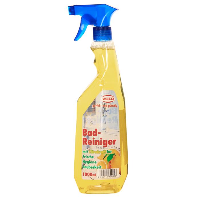 Средство для мытья влагоустойчивых поверхностей Weco, с ароматом лимона, 1 л60032Средство Weco быстро и бережно очищает любые влажные моющиеся и кислотоустойчивые поверхности ( такие как арматура, душ и ванная, половая и стеновая плитка, раковины и умывальники и т.д.) от любых, даже самых устойчивых загрязнений. Не оставляет следов и разводов на очищаемых поверхностях. Сила лимона для идеальной чистоты и свежести!!! Характеристики: Объем: 1 л. Производитель: Германия. Артикул: 60032. Товар сертифицирован.