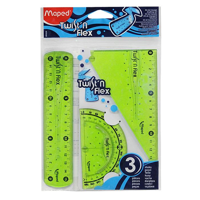 Геометрический набор Maped Twistn Flex, цвет: зеленый, 3 предметаFS-54103Геометрический набор Twistn Flex, выполненный из цветного прозрачного пластика, можно носить повсюду, не опасаясь сломать. Все чертежные инструменты сгибаются в любом направлении, после непродолжительного времени принимают первоначальную форму и не деформируются. Состоит из трех предметов: линейки на 15 сантиметров, транспортира на 180 градусов и угольника. Угольник с углами 30, 60, 90 градусов и линейкой на 14 сантиметров.Разметка шкалы нанесена на внутреннюю поверхность чертежных принадлежностей, что предотвращает ее истирание. Легко читаемая двусторонняя шкала - выделены каждые 5 см. Несмазывающиеся кромки предотвращают размазывание ручек и карандашей в процессе работы. Характеристики: Размер упаковки: 14,5 см х 22,5 см.Изготовитель: Китай.