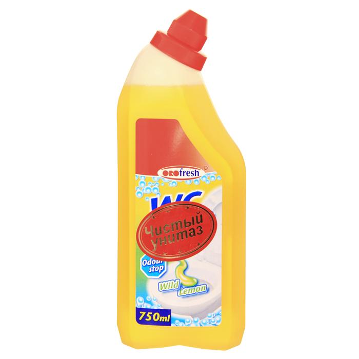 Гель для чистки унитаза ORO-fresh, с ароматом лимона, 750 мл01020Гель ORO-fresh - средство для быстрой и эффективной чистки унитазов. Превосходно, без усилий растворяет грязь, известковые и уриновые отложения, жир и другие устойчивые загрязнения. Гель не оставляет следов и разводов после высыхания, обработанные поверхности приобретают идеальный сияющий блеск. Средство обладает антибактериальным действием и удаляет неприятные запахи, придавая очищаемым поверхностям аромат лимонной свежести. Удобный флакон позволяет использовать средство легко и экономно, даже на вертикальных поверхностях. Характеристики: Объем: 750 мл. Производитель: Германия. Артикул: 01020. Товар сертифицирован.