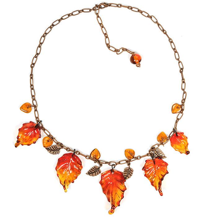 """Ожерелье """"Осень в Нью-Йорке"""" (Lampwork) Ручная авторская работа Ольга Букина NL0001"""