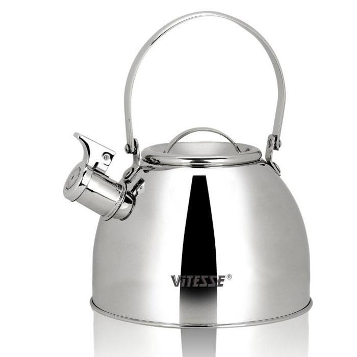 Чайник Vitesse Classic со свистком, 2,5 л. VS-7803VS-7803Чайник Vitesse Classic выполнен из высококачественной нержавеющей стали 18/10. Капсулированное дно с прослойкой из алюминия обеспечивает наилучшее распределение тепла. Носик чайника оснащен откидным свистком, что позволит вам контролировать процесс подогрева или кипячения воды. Подвижная ручка не нагревается, фиксируется в нужное вам положение. Чайник Vitesse Classic подходит для использования на всех типах плит. Также изделие можно мыть в посудомоечной машине. Характеристики: Материал: нержавеющая сталь 18/10. Диаметр основания чайника: 19 см. Высота чайника (с учетом крышки и ручки): 25 см. Объем: 2,5 л. Размер упаковки: 19,5 см х 19,5 см х 16,5 см. Изготовитель: Китай. Артикул: VS-7803. Кухонная посуда марки Vitesse из нержавеющей стали 18/10 предоставит вам все необходимое для получения удовольствия от...