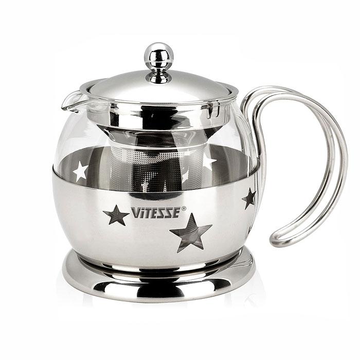 Чайник заварочный Vitesse Classic, с ситечком, 700 мл. VS-8317VS-8317Заварочный чайник Vitesse Classic, выполненный из высококачественной нержавеющей стали и термостойкого стекла, предоставит вам все необходимые возможности для успешного заваривания чая. Чай в таком чайнике дольше остается горячим, а полезные и ароматические вещества полностью сохраняются в напитке. Чайник имеет вынимающийся фильтр-ситечко, что делает его чрезвычайно удобным в использовании. Эстетичный и функциональный, с эксклюзивным дизайном, чайник будет оригинально смотреться в любом интерьере. Чайник пригоден для мытья в посудомоечной машине. Характеристики: Материал: нержавеющая сталь, термостойкое стекло. Объем чайника: 700 мл. Высота чайника (без учета крышки): 11 см. Диаметр основания чайника: 11 см. Размер упаковки: 16,5 см х 14 см х 11,5 см. Изготовитель: Китай. Артикул: VS-8317. Кухонная посуда...