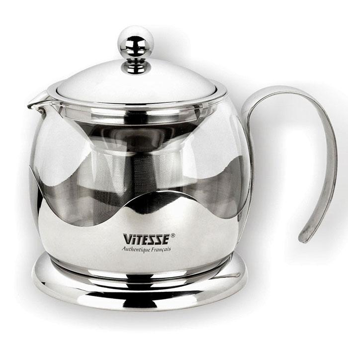 Чайник заварочный Vitesse Galina, 1,2 л. VS-1920VS-1920Заварочный чайник Galina, выполненный из термостойкого стекла, послужит вам не только для приготовления чая, но и для подачи чая к столу. Благодаря резервуару из прозрачного стекла можно легко определить момент закипания воды, а также количество оставшегося чая в заварочном чайнике. Крышка и фильтр чайника, отделяющий чайные листья от воды, выполнены из высококачественной нержавеющей стали. Эстетичный и функциональный, с эксклюзивным дизайном, чайник дополнит интерьер и придаст ему оригинальности. Высота чайника (без учета крышки): 12 см. Диаметр основания чайника: 14 см.
