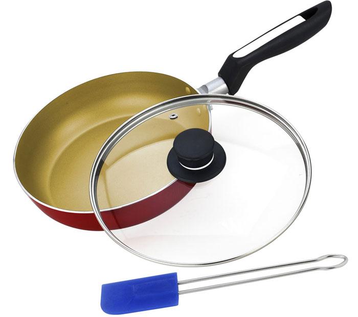 Сковорода Vitesse с крышкой, со съемной ручкой, с антипригарным покрытием. Диаметр 24 см. + Лопатка кулинарная Vitesse, длина 25,5 смVS-2205Сковорода Vitesse изготовлена из высококачественного алюминия и обеспечивает равномерный нагрев. Внутренние стенки имеют антипригарное покрытие. С внешней стороны поверхность сковороды отделана силиконовым покрытием. Стеклянная крышка позволяет следить за процессом приготовления. Крышка имеет отверстие для выхода пара. Сковорода оснащена удобной съемной ручкой из высокопрочного бакелита. Сковорода подходит для использования на всех типах плит, кроме индукционной. Также изделие можно мыть в посудомоечной машине. Диаметр сковороды (по верхнему краю): 24 см. Высота стенки: 5 см. Толщина стенок: 2,5 мм. Длина ручки: 18,5 см. Длина ручки на заклепках: 25,5 см.