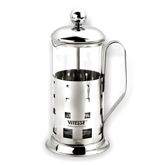 Кофеварка Vitesse Manya, 600 млVS-1925Кофеварка Vitesse Manya с фильтром френч-пресс займет достойное место на вашей кухне. Колба кофеварки изготовлена из термостойкого стекла, а фильтр френч-пресс из нержавеющей стали. К кофеварке прилагается пластиковая мерная ложечка. Пригодна для мытья в посудомоечной машине. Настоящим ценителям натурального кофе широко известны основные и наиболее часто применяемые способы его приготовления: эспрессо, по-турецки, гейзерный. Однако существует принципиально иной способ, известный как french press, благодаря которому приготовление ароматного напитка стало гораздо проще. Весь процесс приготовления кофе займет не более 7 минут. Попробовав однажды кофе, приготовленный с помощью французского пресса, вы не сможете отказать себе в удовольствии делать это снова и снова! Характеристики: Материал: нержавеющая сталь, стекло. Объем: 600 мл. Высота (с учетом крышки): 20 см. Размер упаковки: ...