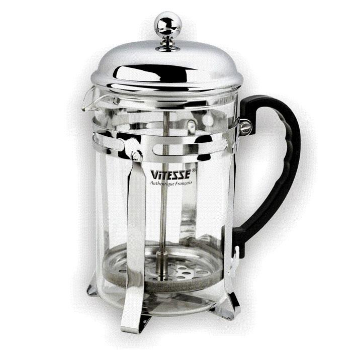 Кофеварка Vitesse Elicia, 350 млVS-1926Кофеварка Vitesse Elicia с фильтром френч-пресс займет достойное место на вашей кухне. Колба кофеварки изготовлена из термостойкого стекла, а фильтр френч-пресс из нержавеющей стали. К кофеварке прилагается пластиковая мерная ложечка. Изделие пригодно для мытья в посудомоечной машине. Настоящим ценителям натурального кофе широко известны основные и наиболее часто применяемые способы его приготовления: эспрессо, по-турецки, гейзерный. Однако существует принципиально иной способ, известный как french press, благодаря которому приготовление ароматного напитка стало гораздо проще. Метод french press прост: в теплый кофейник насыпают кофе грубого помола и заливают горячей водой. После того, как напиток настоится 3-5 минут, гущу отделяют поршнем с сеткой - и кофе готов! Эксперты считают, что такой способ позволяет получить максимально ароматный и нежный кофе - ведь он не перегревается, не подвергается воздействию высокого давления и не проходит через бумажный...