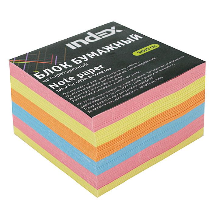 Бумага для записей многоцветная Index, 90х90х502010440Бумага для записей Index - необходимый настольный аксессуар делового человека.Блок состоит из листов разноцветной бумаги, что помогает лучше ориентироваться во множестве заметок. А яркий блок-кубик на вашем рабочем столе поднимет настроение Вам и Вашим коллегам! Характеристики: Размер листа: 9 см х 9 см. Размер блока: 9 см х 9 см х 5 см. Изготовитель: Беларусь.