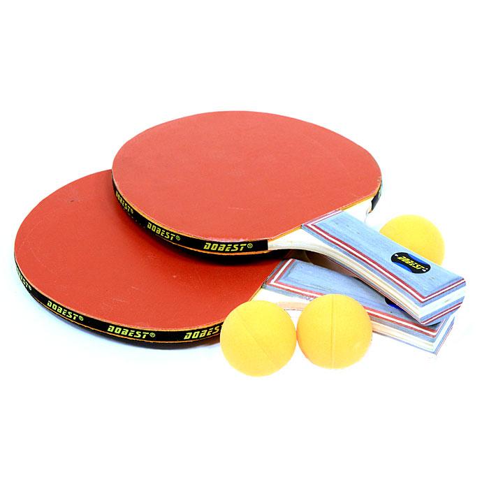 Набор для настольного тенниса Dobest. 0 StarBR06/0Набор Dobest для настольного тенниса понравится вашему ребенку и надолго займет его внимание. Набор включает в себя две ракетки и три мячика. Настольный теннис - спортивная игра, основанная на перекидывании мяча ракетками через игровой стол с сеткой, цель которой - не дать противнику отбить мяч. Игра в настольный теннис развивает концентрацию внимания, ловкость и координацию.