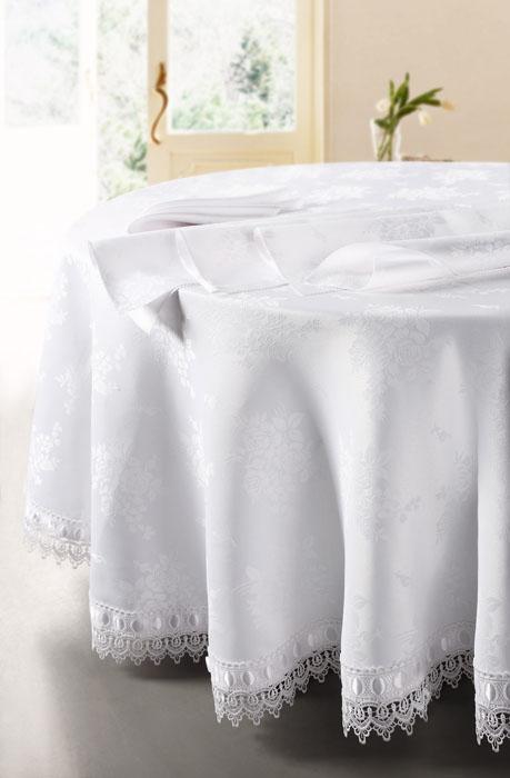Комплект столовый SL, цвет: белый, 5 предметов. 0845908459Роскошный столовый комплект Soft Line, выполненный из ацетатного шелк-жаккарда, состоит из круглой скатерти белого цвета и 4 квадратных салфеток. Края скатерти отделаны восхитительными кружевами и атласной лентой. Комплект упакован в подарочную коробку. Использование такого набора сделает застолье более торжественным, поднимет настроение гостей и приятно удивит их вашим изысканным вкусом. Вы можете использовать этот комплект для повседневной трапезы, превратив каждый прием пищи в волшебный праздник и веселье. Характеристики: Материал: 100% полиэстер (ацетатный шелк-жаккард). Цвет: белый. Производитель: Китай. Артикул: 08459. В комплект входят: Скатерть - 1 шт. Диаметр: 180 см. Салфетка - 4 шт. Размер: 40 см х 40 см. Soft Line предлагает широкий ассортимент высококачественного домашнего текстиля разных направлений и стилей. Это и постельное белье из тканей различных фактур и орнаментов, а также мягкие теплые пледы,...