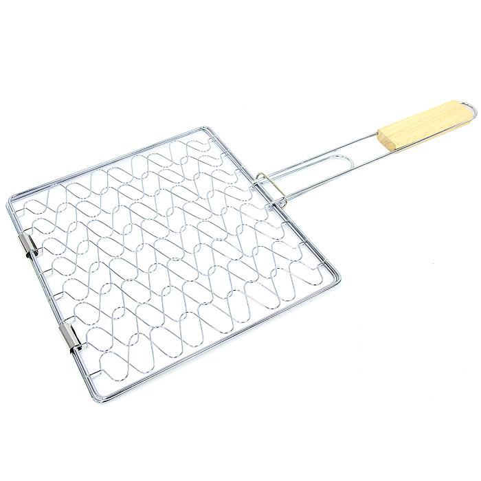Решетка-гриль Top-style, эластичная, 25 см х 28 см2022-BBQРешетка эластичная предназначена для запекания мяса, птицы, рыбы, овощей. Решетка изготовлена из хромированной стали и идеально подходит для мангалов и барбекю. Решетка имеет фиксирующее кольцо на ручке, что обеспечивает надежную фиксацию, эластичные свойства решетки позволяют подстраиваются под объем продукта, а деревянная ручка предохраняет руки от ожогов и удобна для обхвата двумя руками. Характеристики: Материал: сталь, дерево. Размер решетки: 25 см х 28 см. Длина ручки: 30 см. Производитель: Бельгия. Артикул: 2022-BBQ.